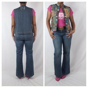 Chico's Denim Boho Embroidered Vest